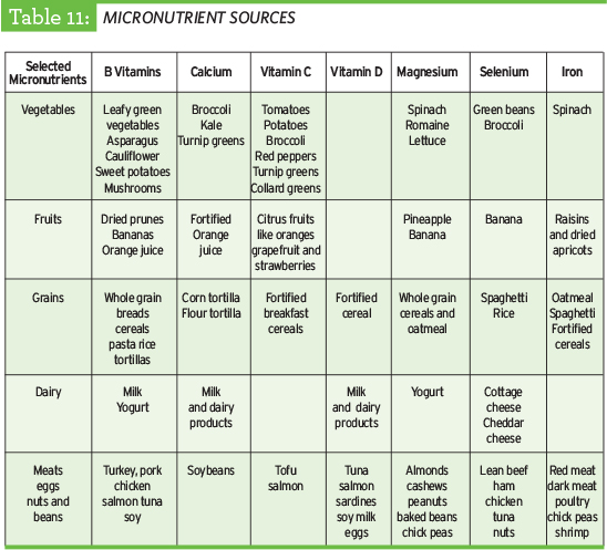 Micronutrient Sources table from the TrueSport nutrition guide.